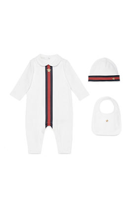 Gucci Web-Trim Jersey Coverall Gift Set, Size 0-12
