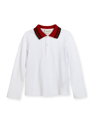 Long-Sleeve Tipped Pique Polo Shirt, Size 6-36 Months