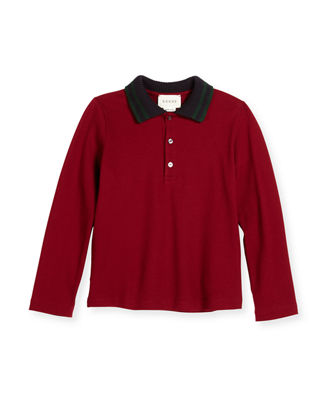 Gucci Long-Sleeve Tipped Pique Polo Shirt, Size 6-36