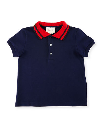 Gucci Short-Sleeve Ribbed-Trim Pique Polo Shirt, Size 6-36