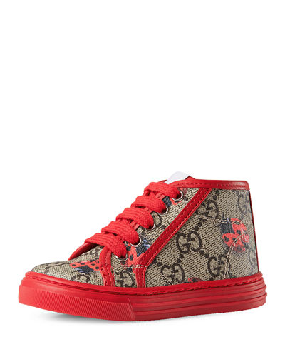 Gucci California GG Supreme Printed High-Top Sneaker, Toddler