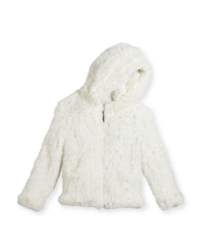 Hooded Zip-Front Rabbit Fur Jacket, Size 2-16