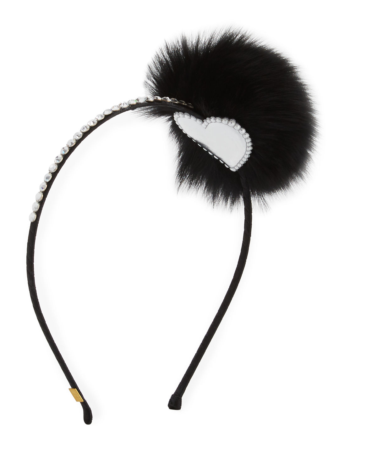 Bari Lynn Accessories RHINESTONE & FOX FUR POMPOM HEADBAND
