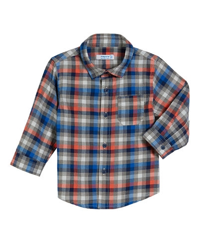 Long-Sleeve Gingham Poplin Shirt, Size 3-24 Months