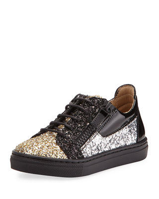 Glittered Leather Sneaker, Toddler/Youth Sizes 9T-2Y