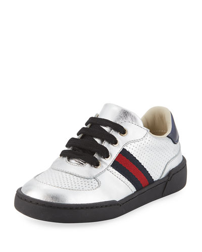 Gucci Metallic Leather Sneaker, Toddler