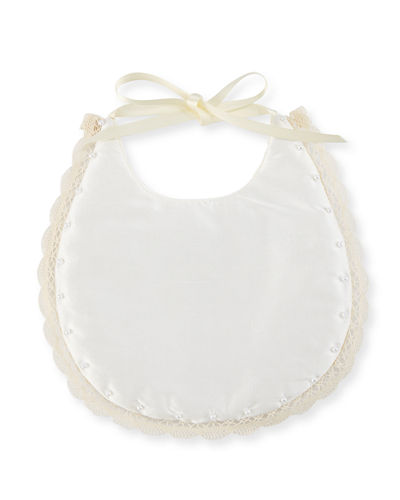 Lace-Trim Silk Baby Bib w/ Hand-Applied Pearls