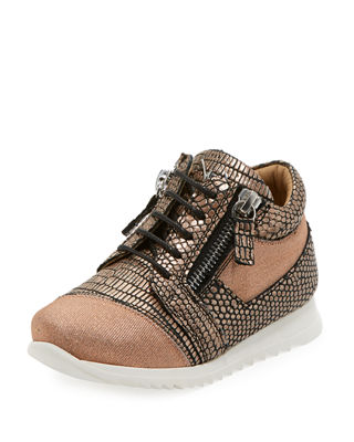 Giuseppe Zanotti Mixed Media Glitter Neoprene Sneakers,