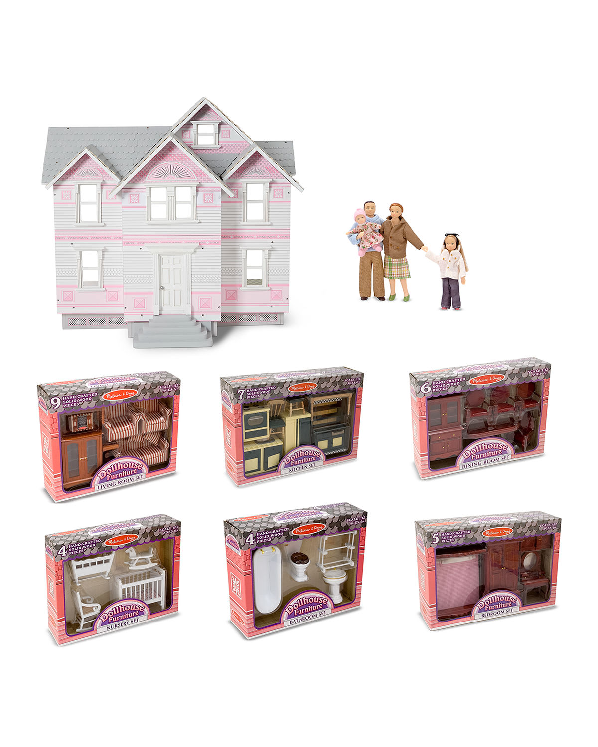 Lets Play Victorian Dollhouse  Room Sets with Doll Family
