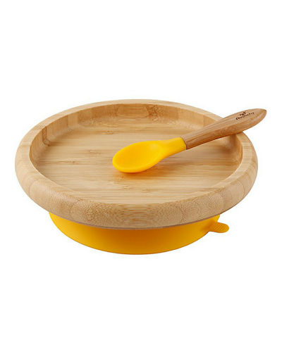 Baby's Bamboo Suction Classic Plate & Spoon Set