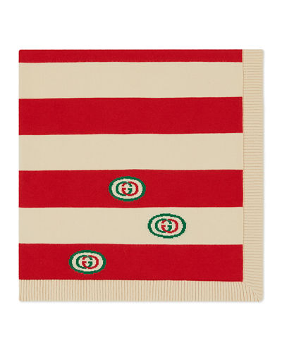 Gucci Stripe Knit Baby Blanket w/ GG Embroidery