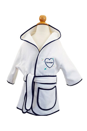 Cece DuPraz Kid's Terry Heart Hooded Cover-Up Robe, Personalized