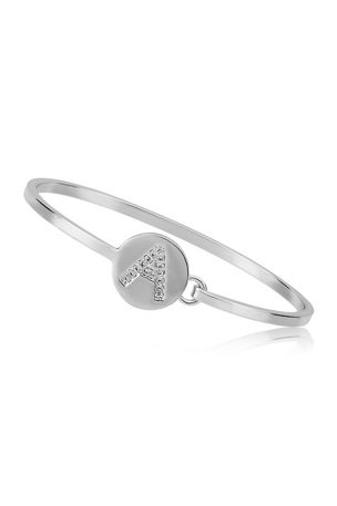 LMTS Girls' Initial Disc Bangle Bracelet